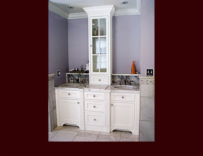 White Lacquer Maple Bathroom Vanity. Flat Panel Inset door style. Divided lite upper cabinet.