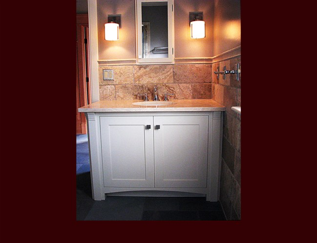Painted Bath Vanity. Flat Panel Inset door style with mirror-framed medicine cabinet.