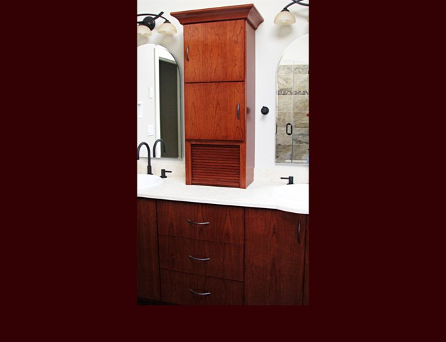 Cherry Master Bath Vanity. Contemporary Slab Fronts. Center drawer cabinet.