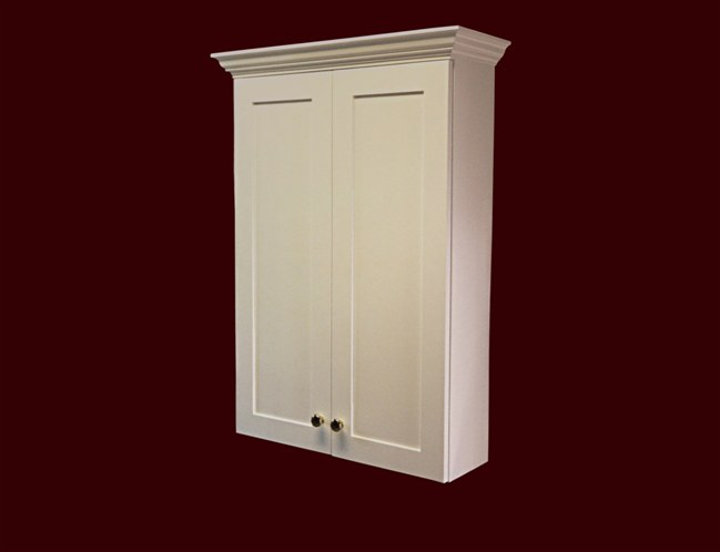 White Painted Bath Cabinet. Flat Panel Full Overlay door style. 8 inches deep with adjustable shelves.