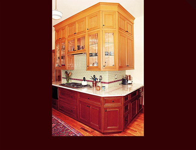 Custom Cherry Cabinets. Decorative end panels on all upper and lower ending cabinets.