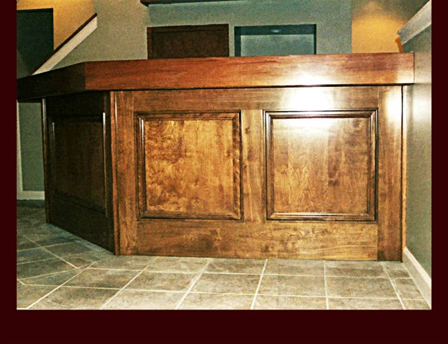Custom Stained Birch Bar. Lower level area.